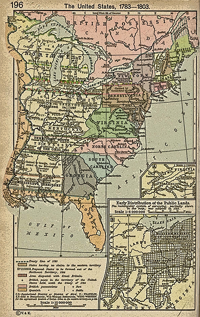 The Territories Northwest And Southwest Of The Ohio River Are Depicted On This Map Of The Early United States 1783 1803