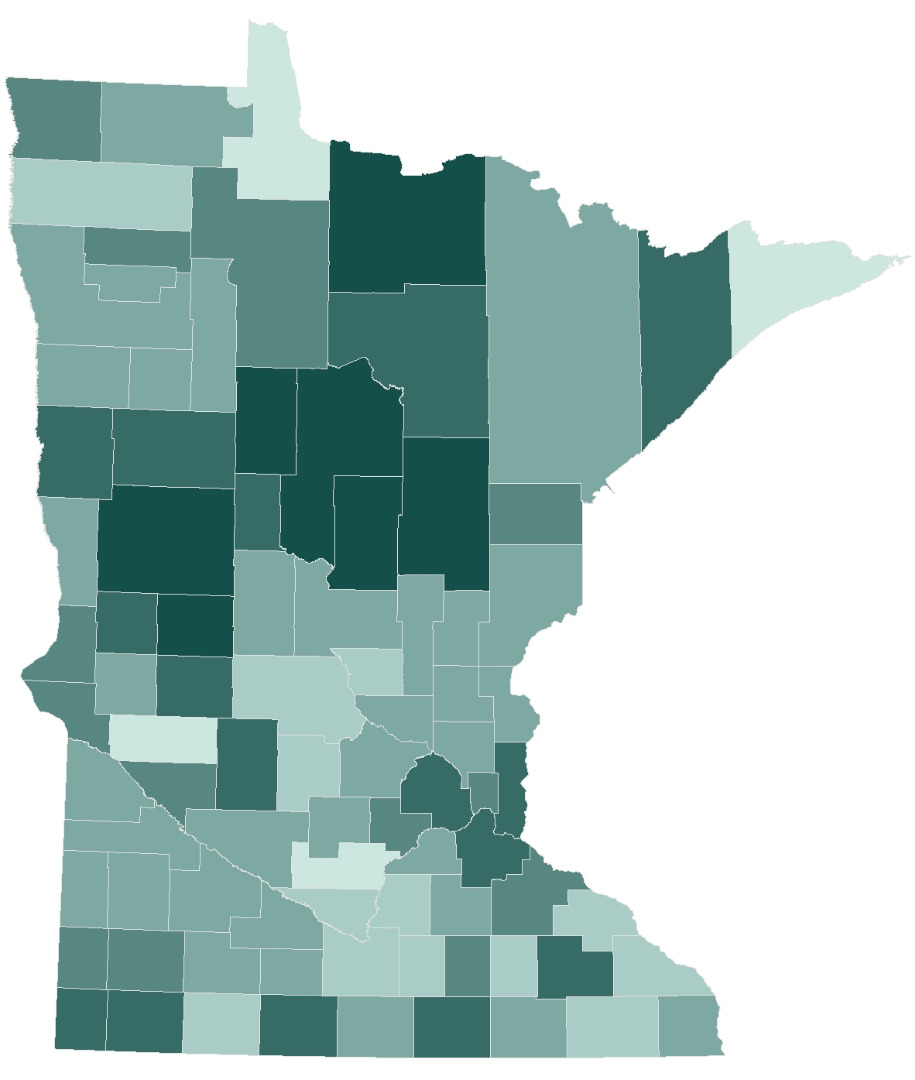 Absentee voting by county. Counties with darker shades had a higher percentage of voting via absentee ballots.