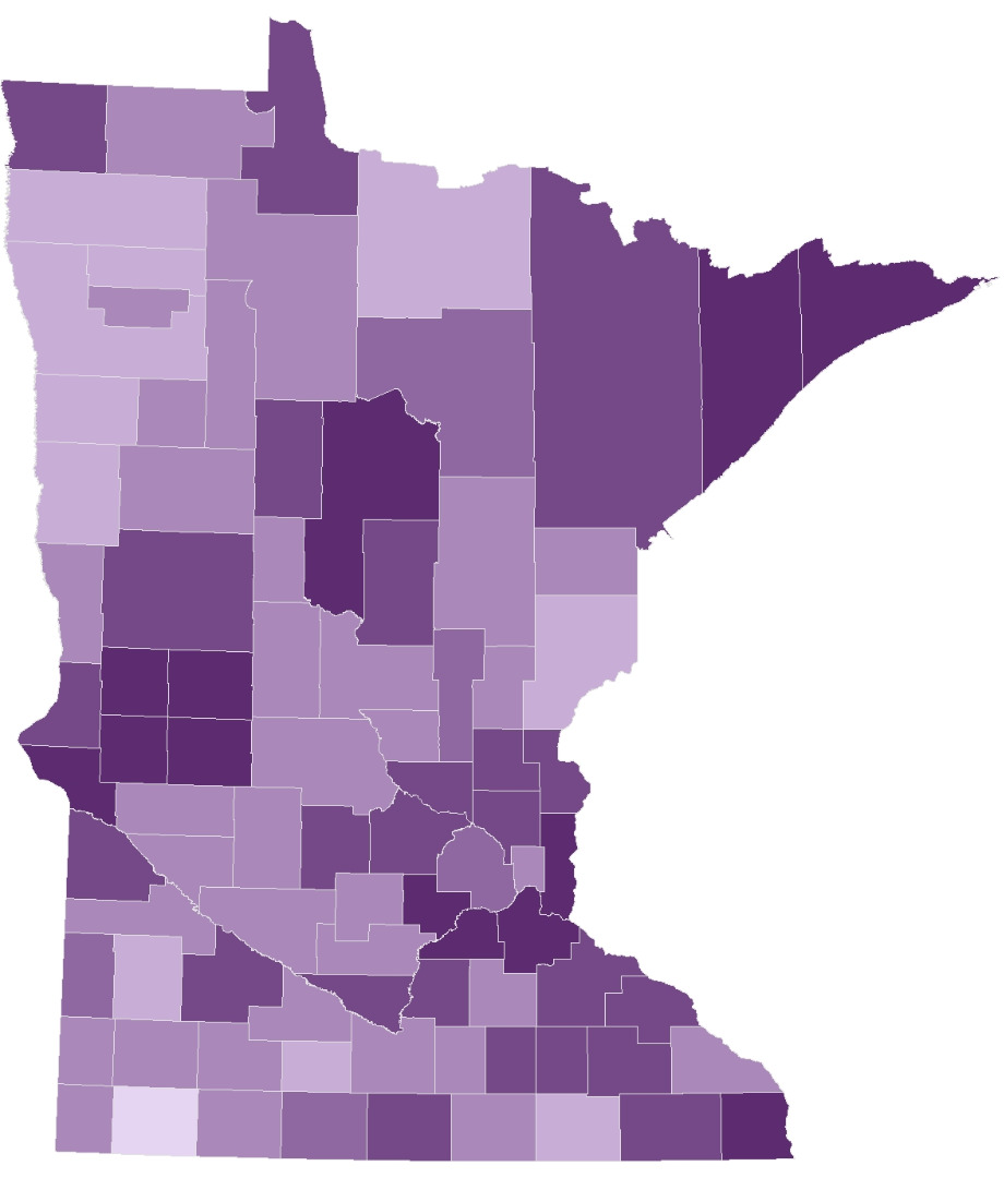 Pre-registration by county. Counties with darker shades had a higher percentage of voters pre-registered