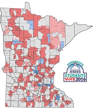 Minnesota Secretary Of State Minnesota Students Vote 2016 Mock - Us-map-vote-2016