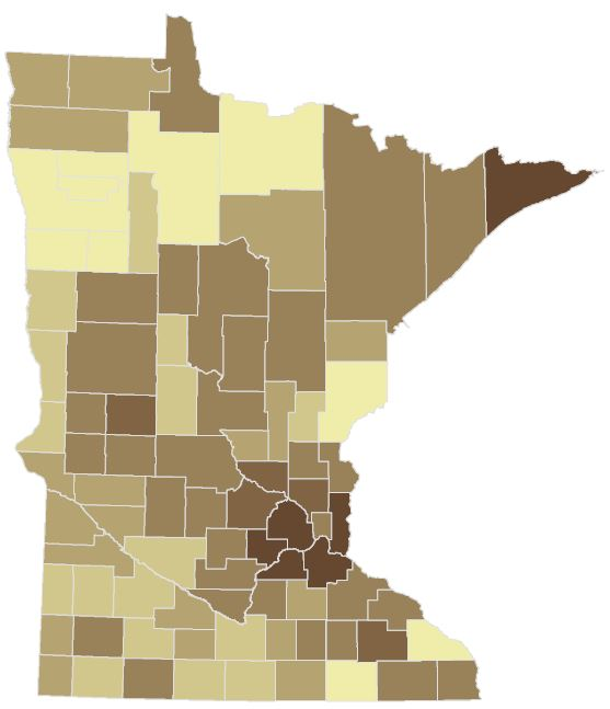 Voter turnout by county. Counties with darker shades had a higher turnout of estimated eligible voters.