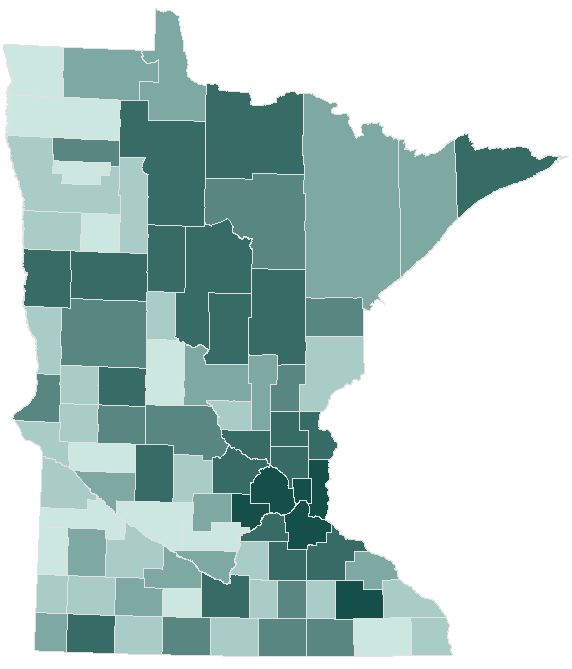 Absentee voting by county. Counties with darker shades had a larger percent of ballots cast via absentee voting.