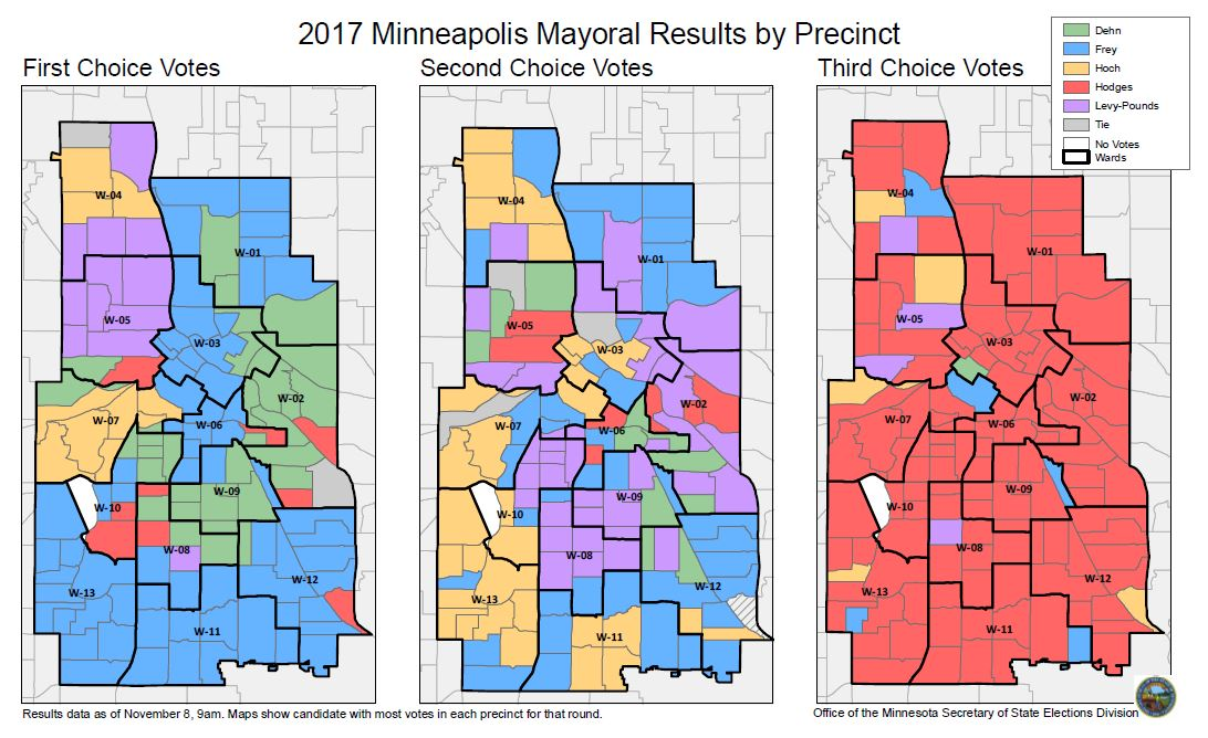 Displays Minneapolis mayoral candidate with greatest votes in each precinct for all three choices